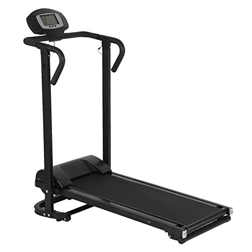 Aleseae Mechanisches Laufband mit LCD-Anzeige Walking Machine Faltbarer Heimtrainer schwarz