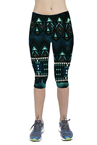 qutool Femme Tartan Active Sport Capri Leggings stretch Drap-housse Collants de Course à Pied pour Femme Sport Pantalon pour Homme Vert foncé