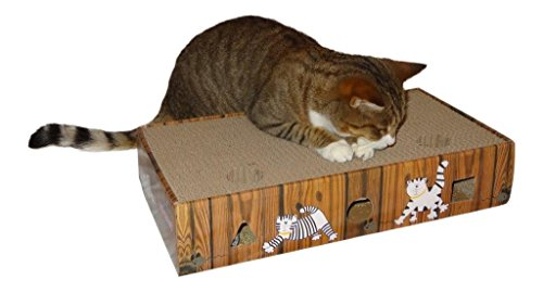 ENVIRONMENTALLY FRIENDLY CAT SCRATCHER & ACTIVITY TOY including CATNIP and TOYS 1