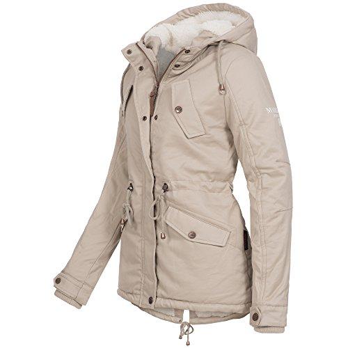 Marikoo MANOLYA Damen Jacke Parka Mantel Winterjacke warm gefüttert Teddyfell 4 Farben Beige