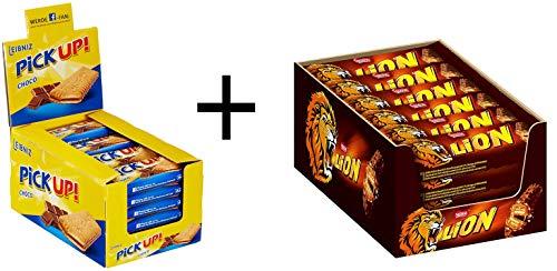 Leibniz PiCK UP! Choco 24 x 28 g und Nestlé LION Schokoriegel 24er Pack (24 x 42 g)