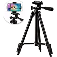 PRANSO Portable and Foldable Camera-Tripod with Mobile Clip Holder Bracket,4 Section Adjustable Travel Tripod (Black)