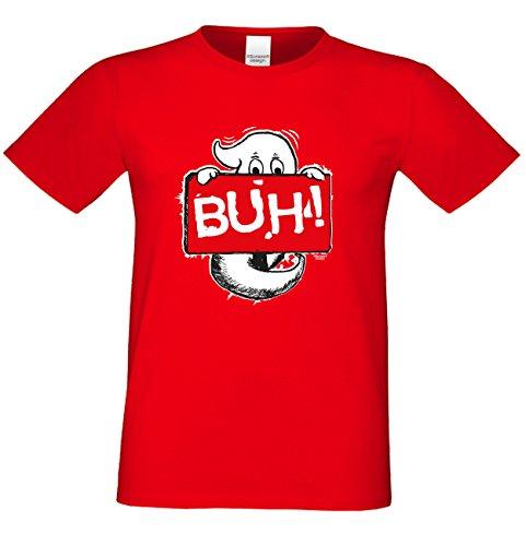 Halloween T-Shirts Herren Fun-Motiv Geist Buh! gruselige Geschenkidee Party-Outfit Kostüm Hexen Gespenster Geister Farbe: rot Rot