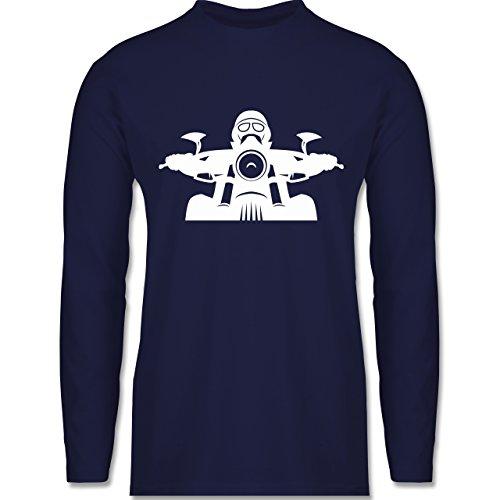 Motorräder - Biker Helm Bart Brille - Longsleeve / langärmeliges T-Shirt für Herren Navy Blau
