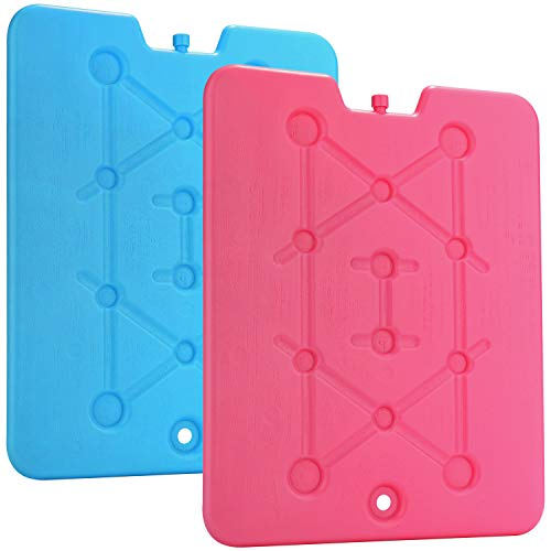 com-four® 2X Extra flaches Kühlakku - Platzsparend und ideal für Kühlbox und Kühltasche - Großes Kühlelement [Auswahl variiert!] (2 Stück - groß)