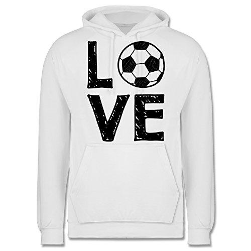 Fußball - Love Fußball - Männer Premium Kapuzenpullover / Hoodie Weiß