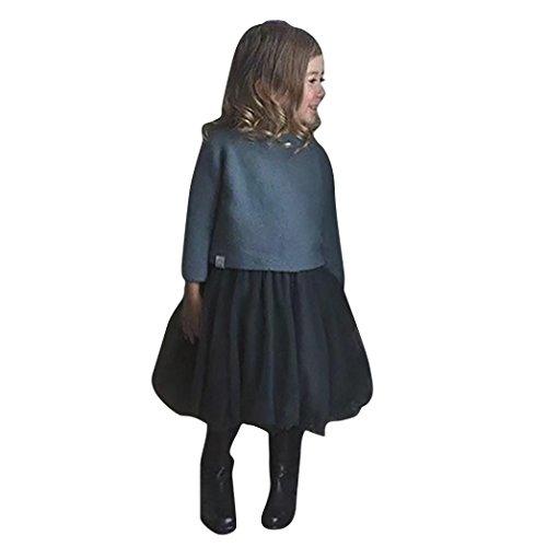(squarex Clearance Mädchen Dual Rock Gurt Kleid Rückenfrei Net Garn Prinzessin Kleidung Kleidung, Kinder, Dunkelgrau, 3-4 Jahre)