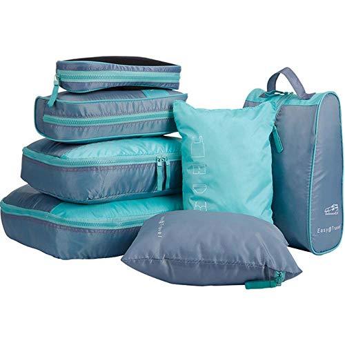 7 Teile/Satz Faltbare wasserdichte Verpackungswürfel Gepäck Reisetaschen für Reisegepäck Koffer Tasche für Trips Backpackers,Blue (Erhalten Sie Es Zusammen Tshirt)
