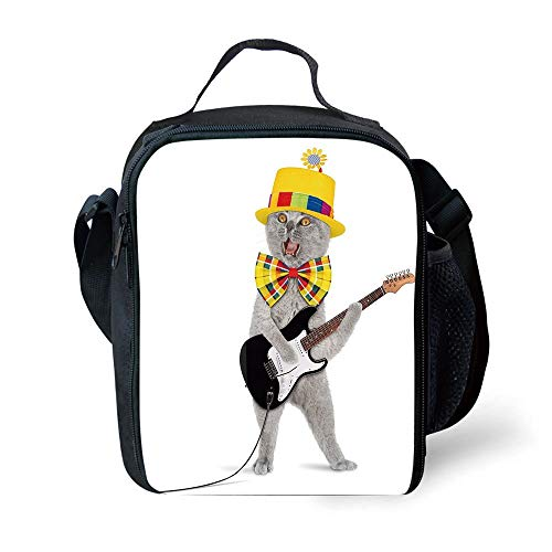 s Cat,Hipster Musician Kitty Playing Guitar Singing with Fun Hat Party Birthday Humor Picture Decorative,Multicolor for Girls or Boys Washable ()
