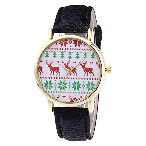 Keepwin Women Christmas Tree Deer Printed Dial Plate Wrist Watch, Lady Round Case Quartz Watch (Schwarz)