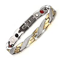 Medical energy bracelet with germanium stone and magnet to get rid of electrical charges in the body and balance for women