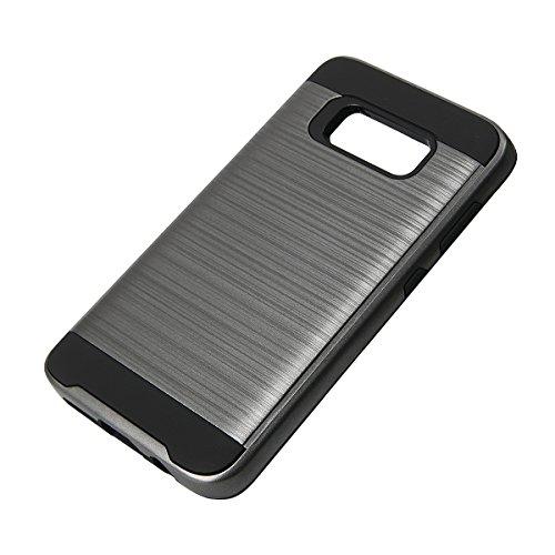 EGO® Hard Case Schutz Hülle für Samsung Galaxy S8 Plus, Grau Metallic Effect Brushed Handy Cover Schale Bumper Etui Top-Qualität Grau
