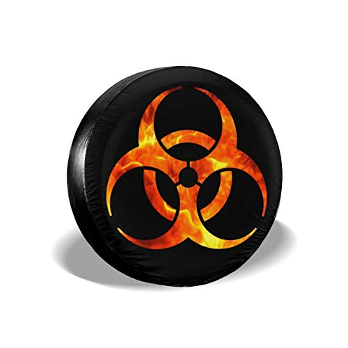 HJKAA Reifenabdeckung,Spare Tire Cover Bio Hazard Flame Spare PVC Leather Waterproof Dust-Proof Rv Wheel Covers for Jeep Wrangler SUV Travel Trailer Accessories (14,15,16,17 Inch) Tire Cover -