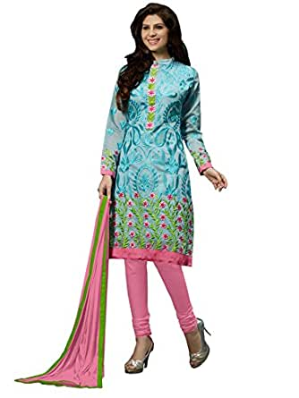 Blissta Light Blue Embroidered Chanderi Salwar Suit Dress Material
