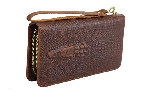 ROOGU Miami Heat * Clutch Geldbörse Echtleder Tasche Alligator Krokodil Handmade -