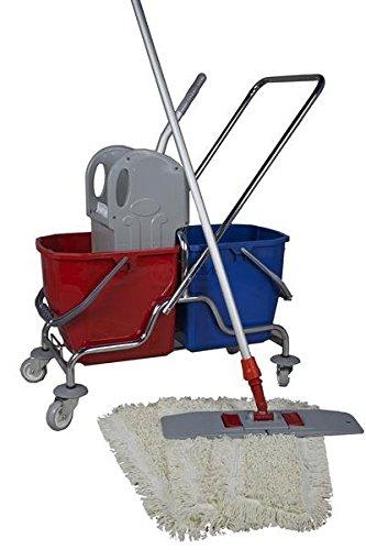 CleanSV® Wischset 50 cm - Putzwagen Chrom / Reinigungswagen mit Presse, Mop Set: bestehend aus 3 Baumwollmop / Wischmop 50 cm , einem 50 cm Klapphalter mit Profi Telekopstiehl