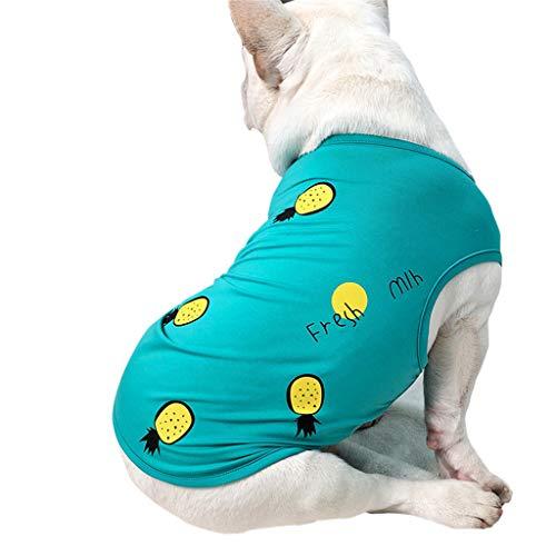 T.boys\'s Haustier Frühjahr Pet Shirt Welpen Herbst Weiches Komfort Weste Pet Frühling und Sommer Ananas Muster Hundekostüme Pet Kleidung Weste (Blue, XXL)