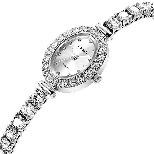 CJ Damen-High-End-Uhren Diamant importierte Bewegung lässige Wilde Damen Quarzuhr,Silver