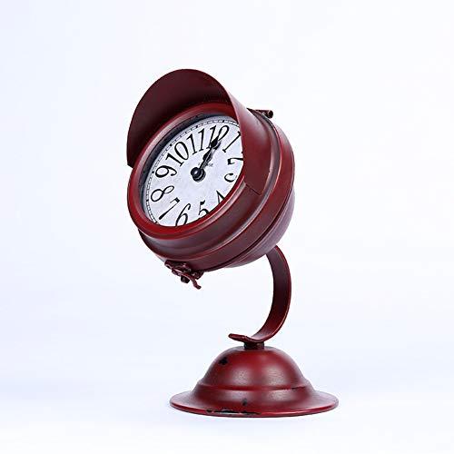 GJH Scheinwerferlampe-Uhrstudie Der Weinleseschmiedeeisenuhrmetallstummtischuhr Kleine, Kleine Lampe, Schlafzimmergeschenk,Brown