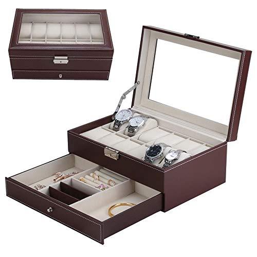 Kamiwwso 12 scatole per orologi vetrine per gioielli con vetrinetta e piano in vetro (color : brown)