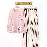 DUKUNKUN Conjunto De Pijama De 2 Piezas De Algodón De Manga Larga con Cintura Elástica Pantalones De Rayas Lounge Ropa De Dormir-M