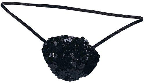 Schwarze Pailletten Augenklappe Piraten Kostüm Accessoire