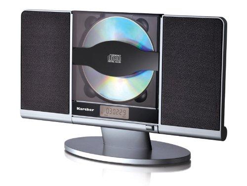 Karcher MC 6512 Kompaktanlage (mit CD Player, vertikale Stereoanlage, UKW Radio und Wecker USB Anschluss) schwarz/silber