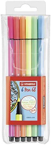 Stabilo Pennarello Premium - Pen 68 - Astuccio da 6 - Colori NEON