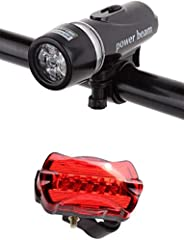 SKY-TOUCH Bike Bicycle Led Power Beam Front Head Light and Tail Torch Back Light