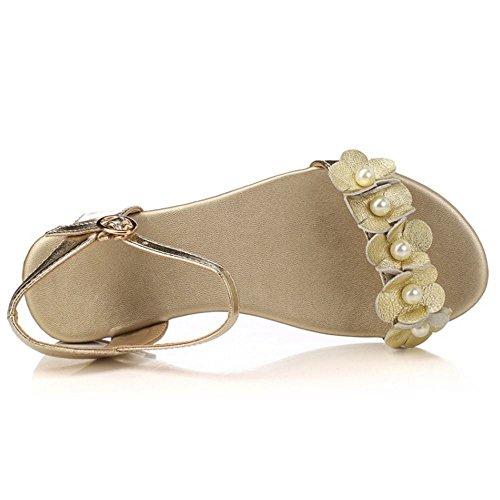RAZAMAZA Femmes Ete Boh¨¦mien Style Sandales De Fleur Plat Chaussures de plage Or