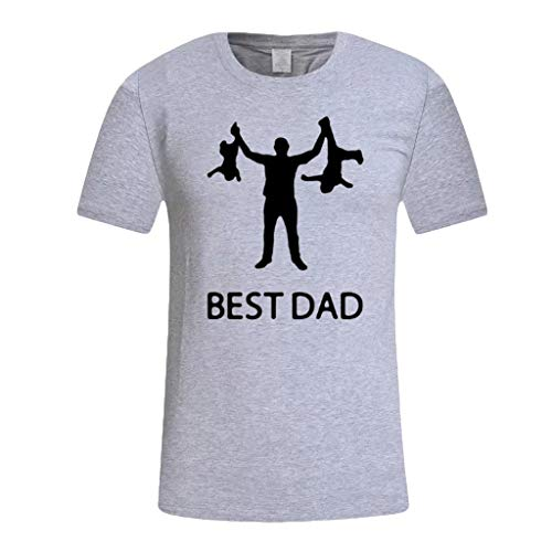 Yowablo T-Shirt Herren Kurzarm Oansatz Sommer Casual Print Geschenk für die weltbesten Tops (3XL,1Grau)
