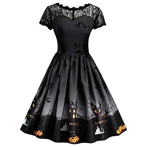 TWIFER Halloween Spitzekleid Damen Kurzarm Vintage Abend Party -