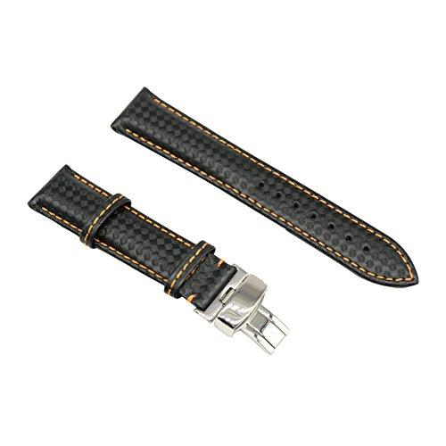 20mm schwarz Luxus einzigartige Carbon-Faser der Männer Rindleder Uhrenarmband-Bügel Ersatz echtes Leder -