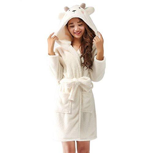Huixin Damen Warme Kapuzen Bademantel Robe Kleid Elegant Nacht Wärmen Cosplay Nachthemd Morgenmantel Saunamantel (Color : Schafe, Size : S)