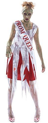 Damen Zombie Toter High School Prom Queen Mädchen Halloween Horror Kostüm Outfit UK (Queen Prom Tote Kostüm)