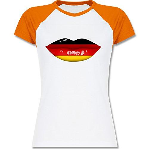 Shirtracer Fußball-WM 2018 - Russland - Lippen Bodypaint Deutschland - Zweifarbiges Baseballshirt/Raglan T-Shirt für Damen Weiß/Orange