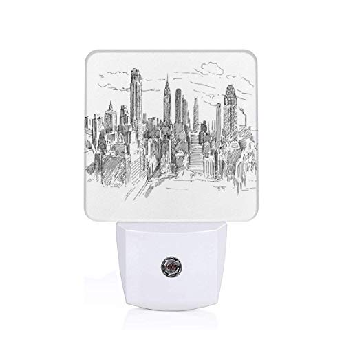 Hand Drawn NYC Cityscape Tourism Travel Industrial Center Town Modern City Design Plug-in LED Night Light Lamp with Dusk to Dawn Sensor, Night Home Decor Bed Lamp