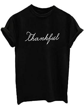 [Patrocinado]HappyGo Verano Divertido Casual Mujer Cuello Redondo Manga Corta Camisetas Carta Impresión Algodón T Shirt Blusas...