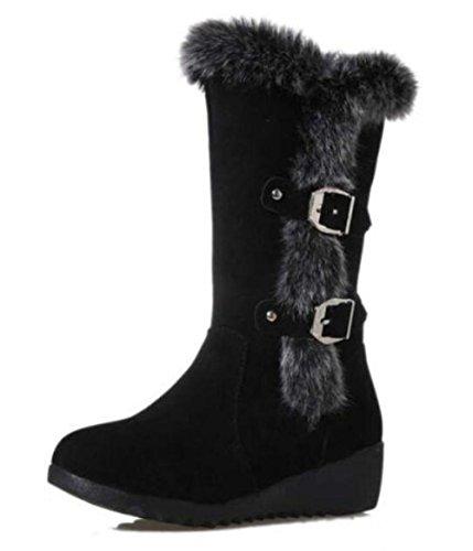 Pente avec cuir mat boucle Martin bottes bottes de neige Black