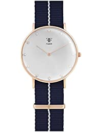 Faber it's_amaz-reloj correa de tela y caja de acero inoxidable cristal de zafiro analógico de cuarzo F302RG