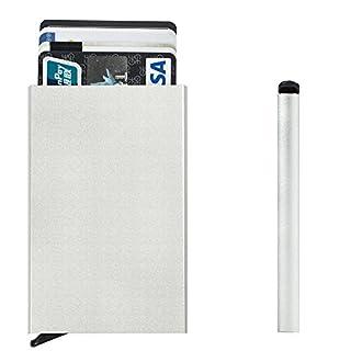 Metal Credit Card Holder, Ainstsk Unisex Alloy Portable Card Wallet Holder RFID Blocking Travel Business Card Protector Case (Silver)