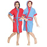 Set of 2 Kids Hood Bathrobe for Boys - 100% Terry Cotton Bathrobe Gown - Half Sleeves, Knee Length, Pocket with Waist Belt - Combo of 2 Children Hodded Bath Robe is Available for Age Group Between 4 to 13 Years & Available in 2 Colors Cherry Red & Blue with Border (Pack of 2) by Sanddune