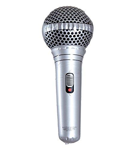 shoperama Aufblasbares Mikrofon 25cm Mikro Karaoke Photobooth 80er Jahre Party Schlager Sänger Rock Star Handmikrofon - Einfach Rock Star Kostüm