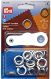 Prym 11 mm Eyelets and Washers, Pack of 15, Brass Silver