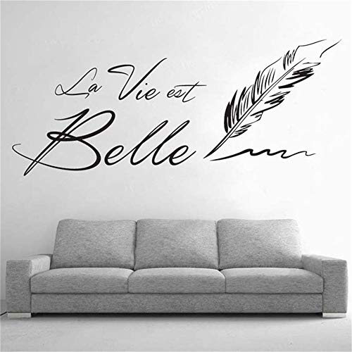jiushizq Lettere la Vie EST Belle Wall Stickers Creative French Frase Beautiful Life Wall Sticker per Soggiorno Home D Rosa 75x105cm