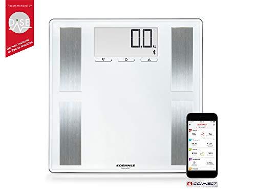 Soehnle Shape Sense Connect 100 mit Bluetooth Personenwaage plus App, Waage für BIA-Premium-Körperanalyse, Körperfettwaage mit großem LCD-Display