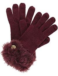 dfde4067358 Regatta Womens Ladies Luz Jersey Knit Fur Trimmer Warm Winter Gloves