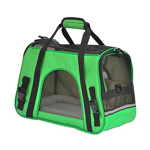 Lcxligang Mode-Haustier-Tragetasche, große Hundekatzen-Reise-Tragetaschen Leichte Faltbare Maschen-weiche Seiten-Hundehütte-Kiste for Katzen (Color : Green) -