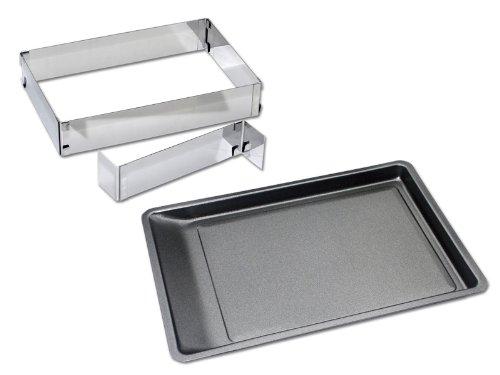 CHG 9854-07 Back-Set 3-teilig / Ausschüttbackblech 42 x 29 cm / Kuchen-/Pizzarahmen mit Teiler, variabel verstellbar