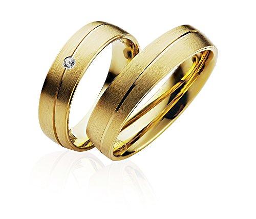 Eheringe Partnerringe Trauringe Verlobungsringe Freundschaftsringe in Gold Plattiert 5,00mm Breit *mit Gravur und Stein* P902